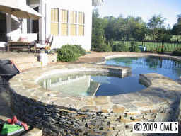 Lake Norman Short Sale - patio, pool w/hot tub, back of home